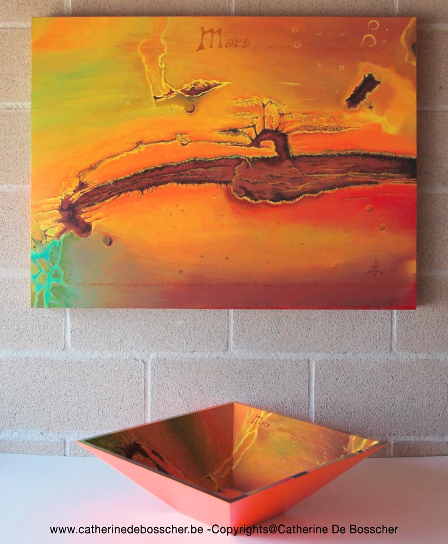 """Planète Mars"" Painting & Pyramidal Bowl by Catherine De Bosscher"