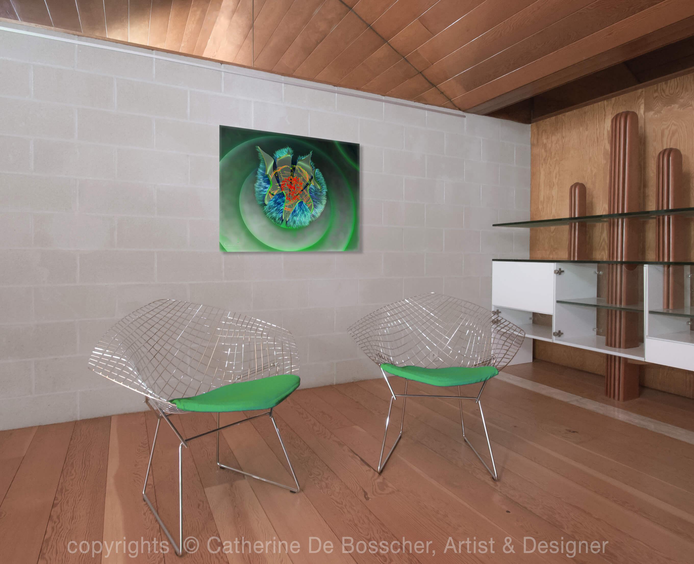 GREEN CAPSULE 3 Artwork 100 x 80 cm by Catherine De Bosscher
