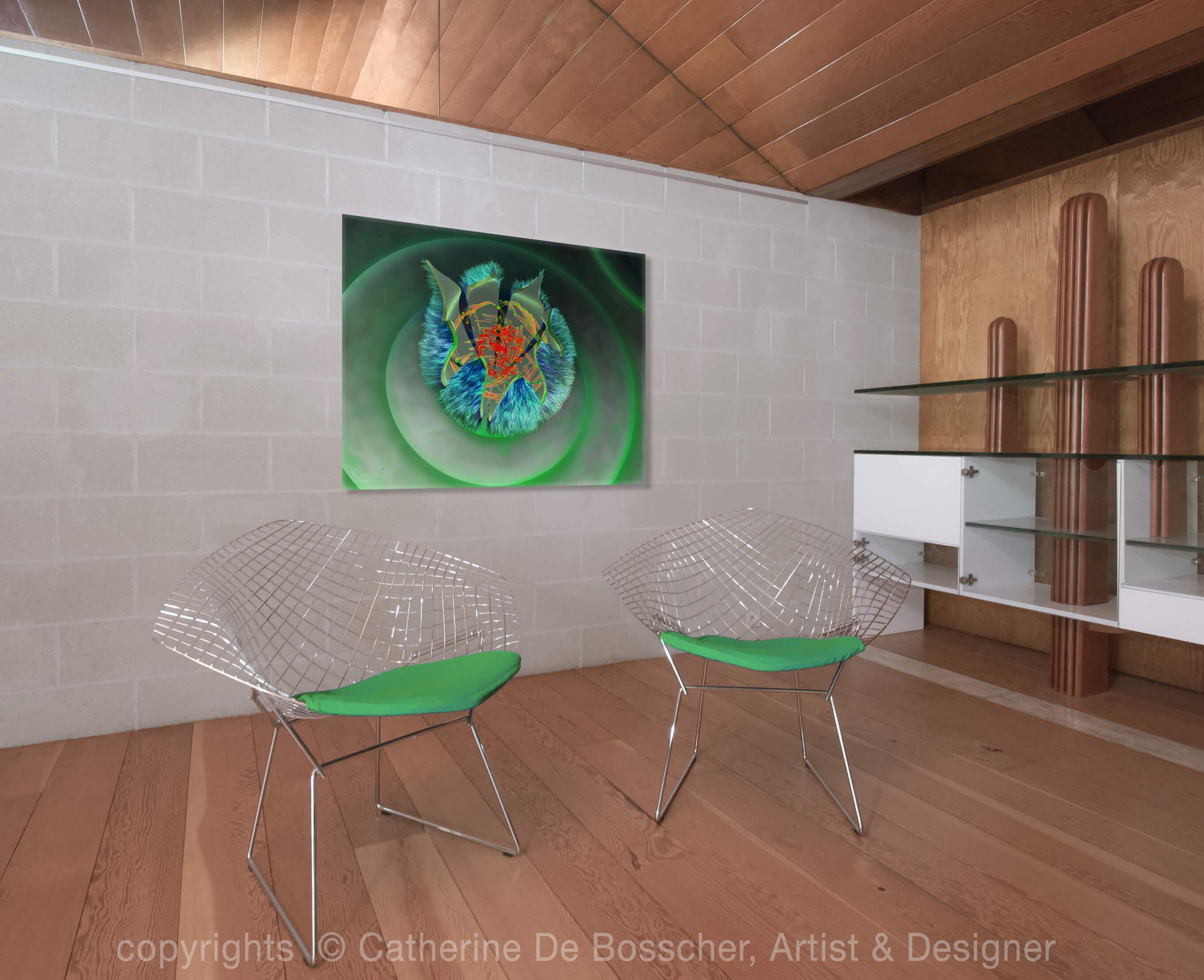GREEN CAPSULE 3 Artwork 125 x 100 cm by Catherine De Bosscher