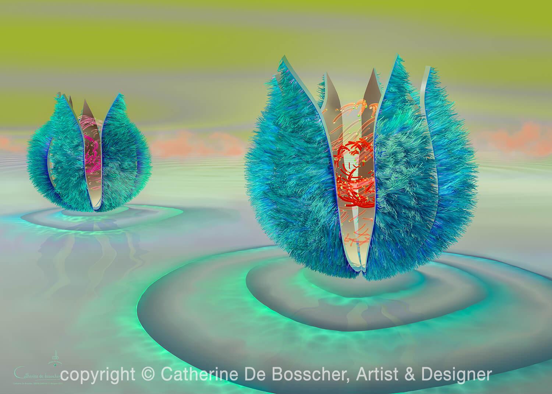 GREEN CAPSULE 2 Artwork 140 x 100 cm or 112 x 80 cm by Catherine De Bosscher