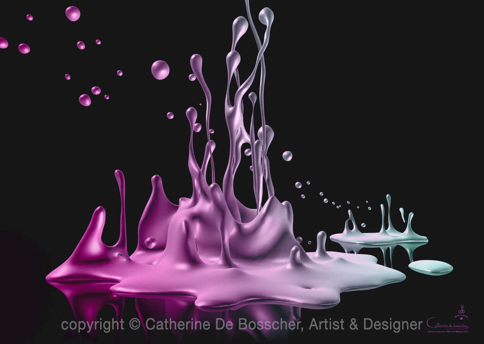 PINK FLOW Artwork 140 x 100 cm or 112 x 80 cm by Catherine De Bosscher