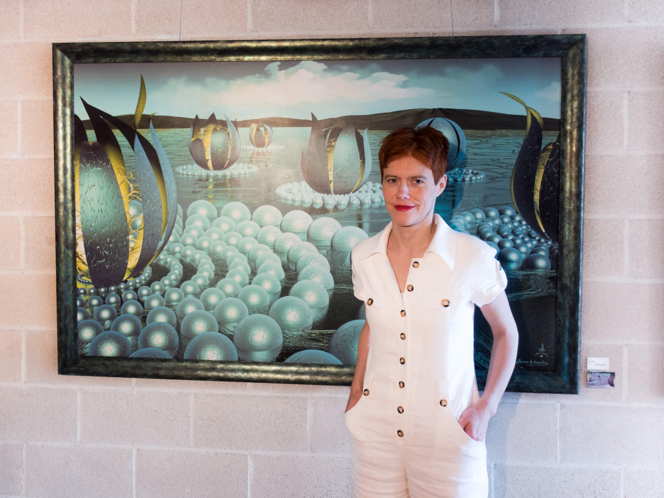 "Artist Catherine De Bosscher in front of her work ""AURORE"""