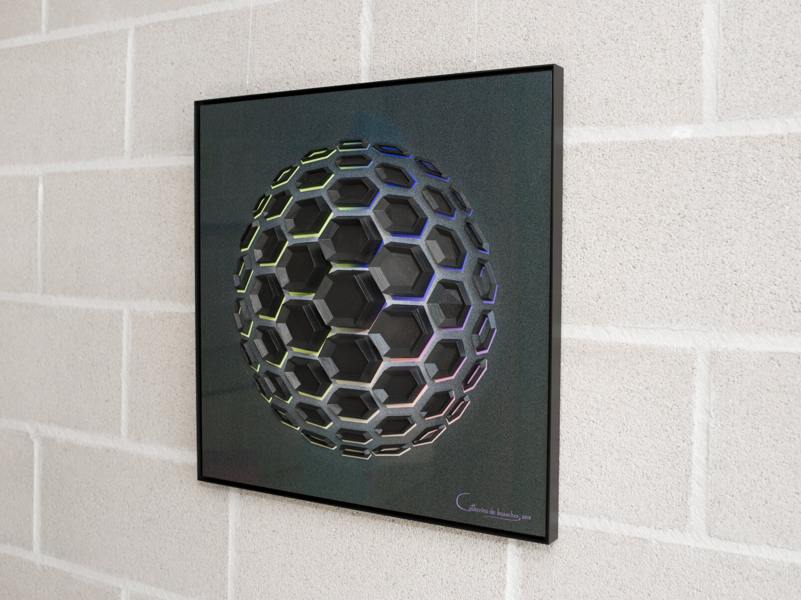 """Black Matter 51"" - 49x49x5.5cm/ 19.3x19.3x2.2 inch"