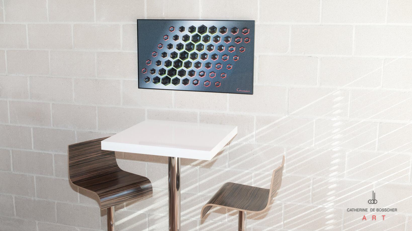 """Black Matter 61"" 50x83x2,5 cm/ 19.3x32.7x1 inch by Catherine De Bosscher"
