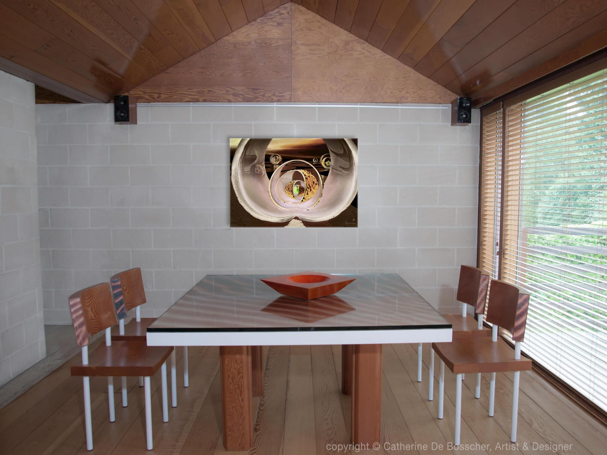 """Crazy Live 1"" Artwork 115 x 80 cm and Sculptural Bowl 40 cm by Catherine De Bosscher"