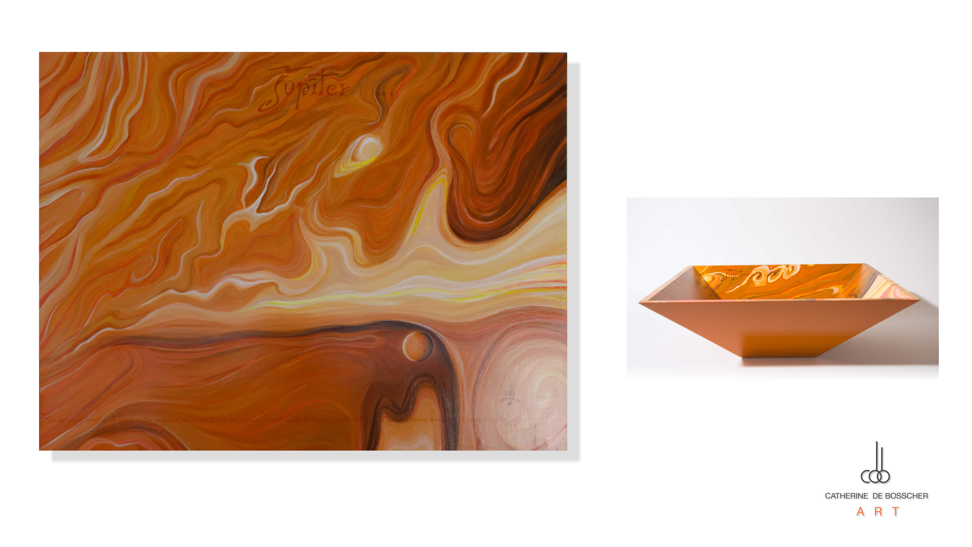 """Planète Jupiter"" painting and pyramidal bowl by Catherine De Bosscher"