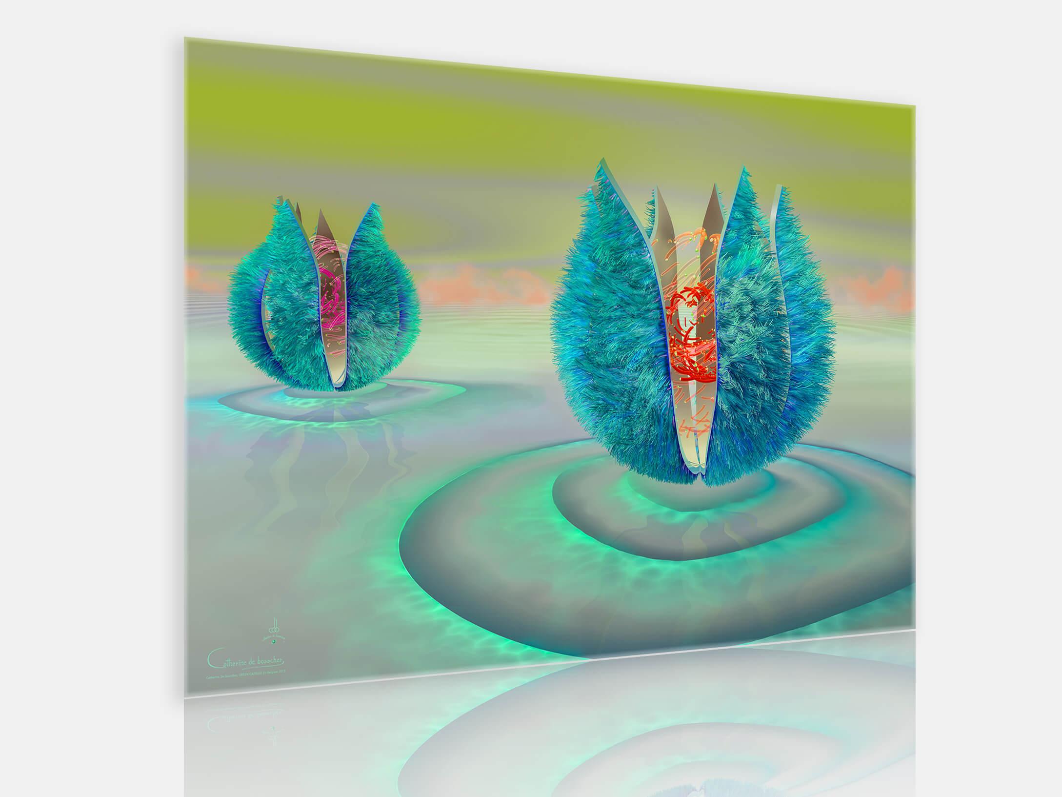"""Green Capsule 2"" 140 x 100 cm or 112 x 80 cm by Catherine De Bosscher"