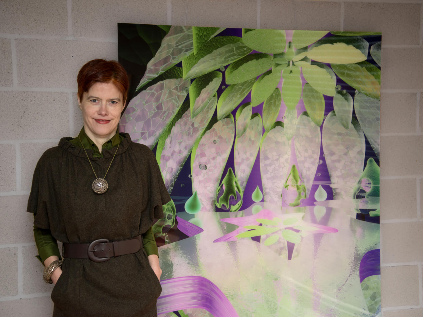 Catherine with her artwork 'Nucléole' 120x150 cm
