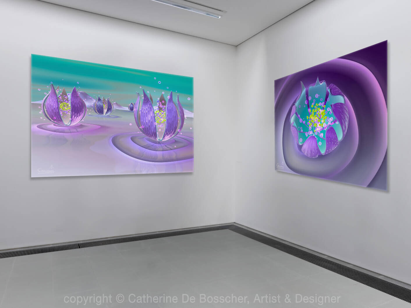 'Purple Capsule I & III' 125x100 cm by Catherine De Bosscher