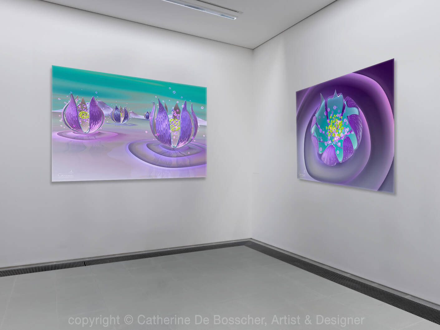 'Purple Capsule I & III' 100x80 cm by Catherine De Bosscher