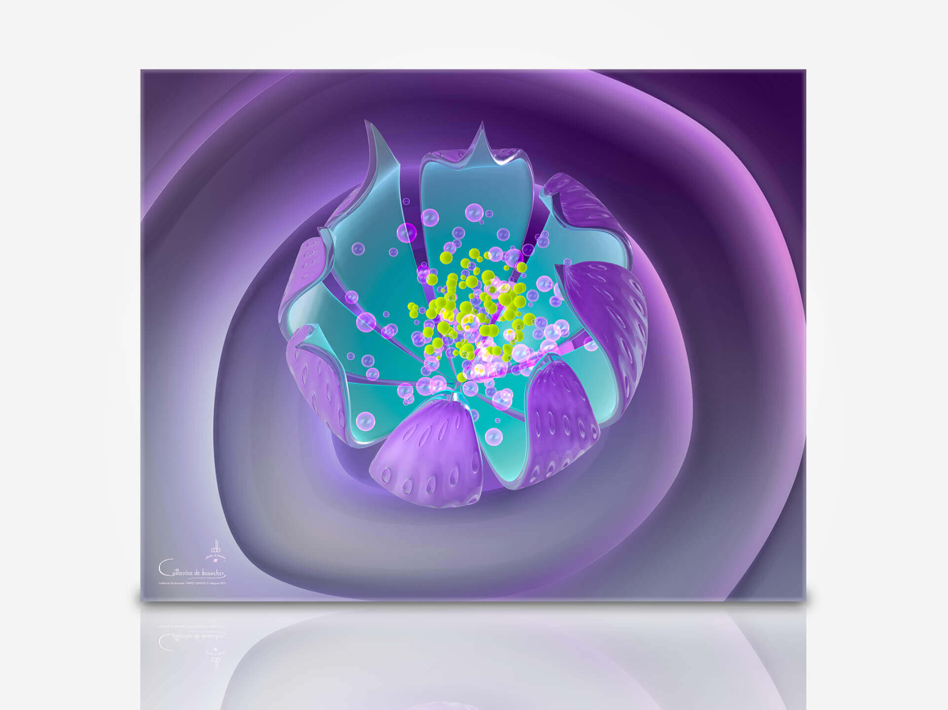 """Purple Capsule II"" 125x100 or 100x80 cm Artwork by Catherine De Bosscher."