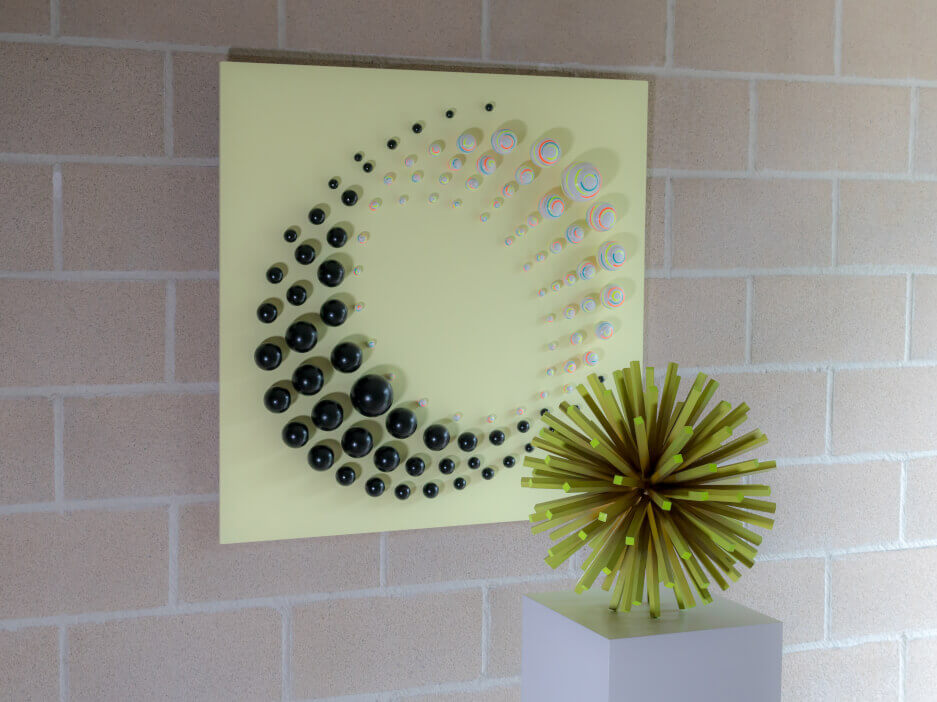 'Whirlwind + Aurisphère' Wall sculpture and sculpture by Catherine De Bosscher