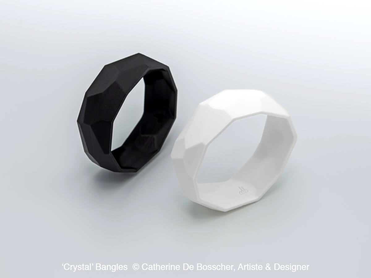 'Crystal' Bangles in black and white