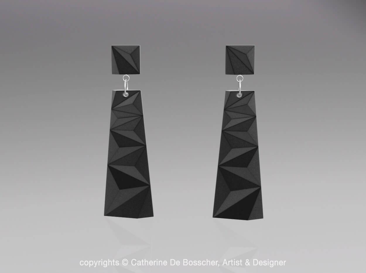 PRISM Earrings in black rendering