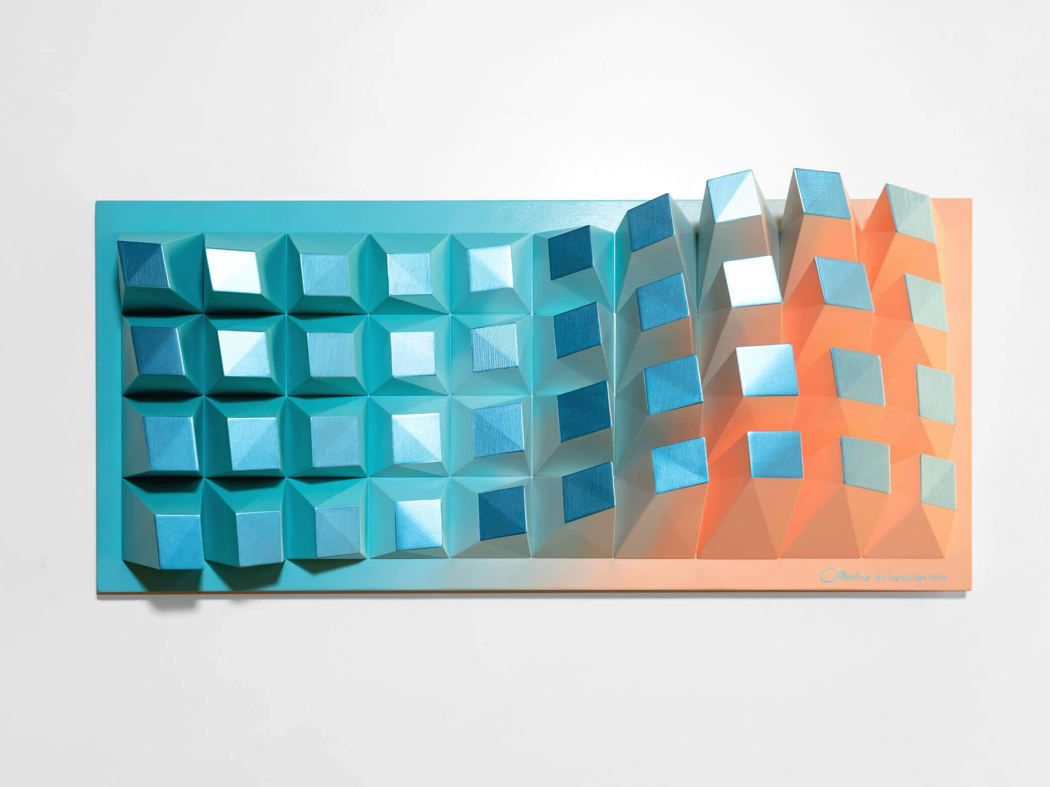 'Matrix of Life 040' Wall Sculpture - 31x69x8,5cm/ 12.2x27.2x3.3 inch