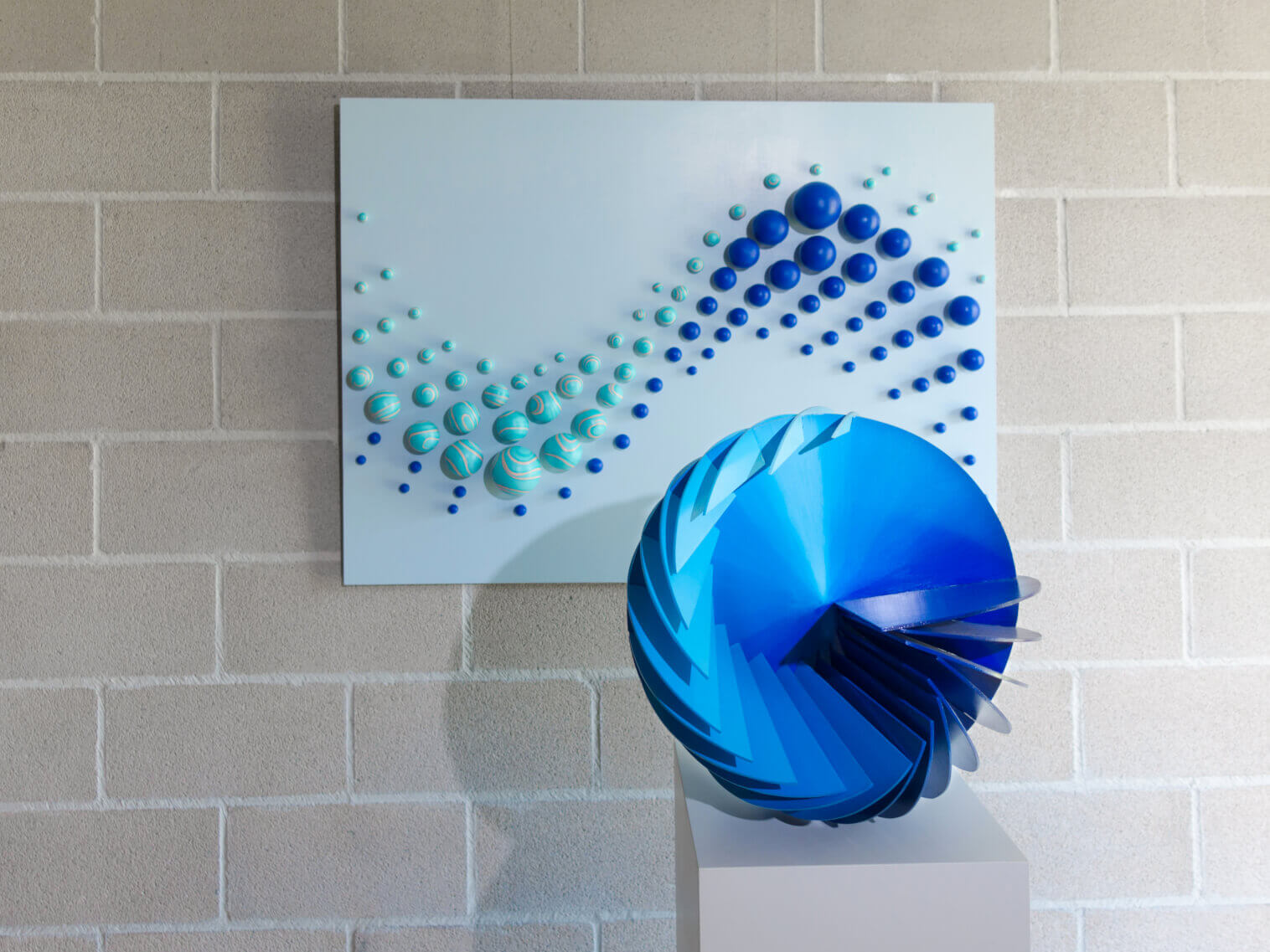 """Spherical Wave"" Sculpture+ ""Twin Lines"" Wall Sculpture"