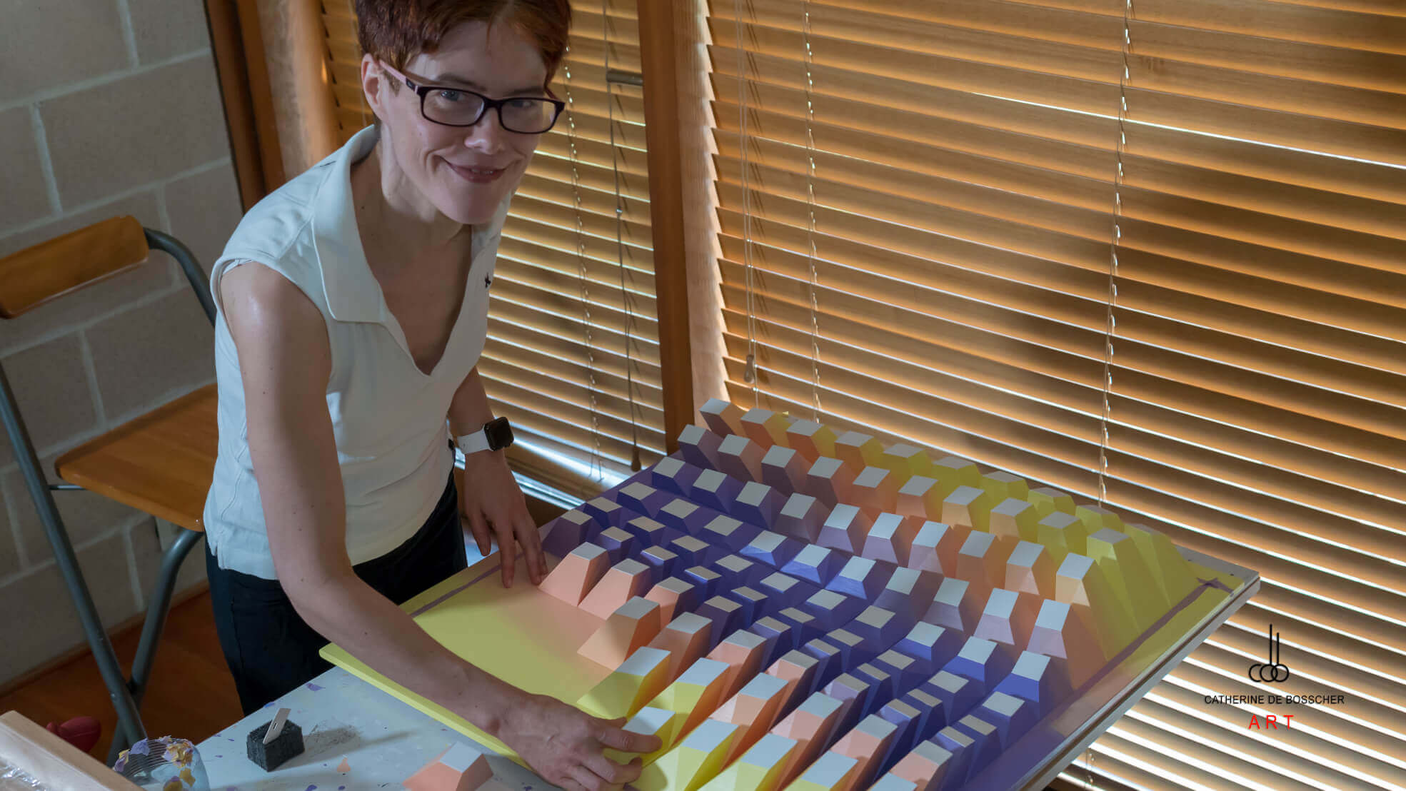 "Catherine De Bosscher working on ""Matrix of Life 0100"""