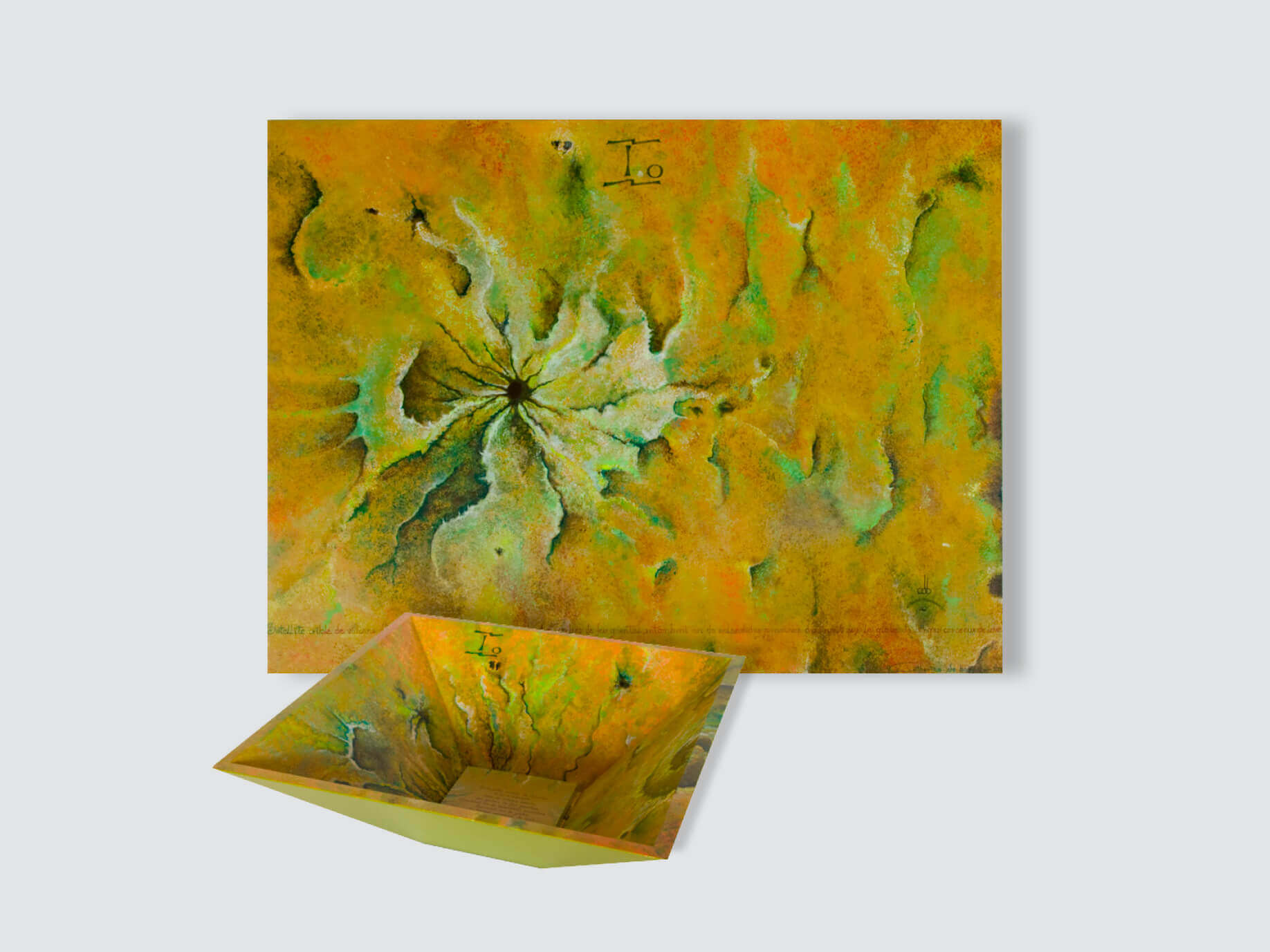 """IO Satellite"" Painting & Pyramidal Bowl- 70x53x5cm + 39x39x13cm /  27.5x20.9X2 in + 15.3x15.3x5.12 in"