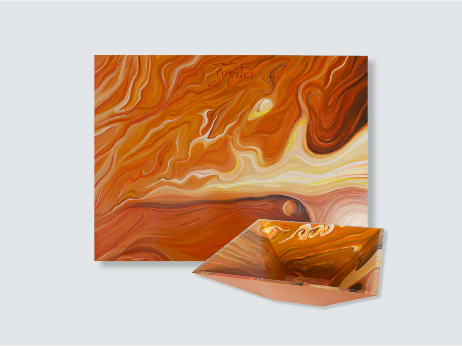 """Jupiter Planet"" Painting & Pyramidal Bowl - 92x70x5cm + 45x45x15cm / 36.2x27.5x2 in +  17.7x17.7x5.9 in"