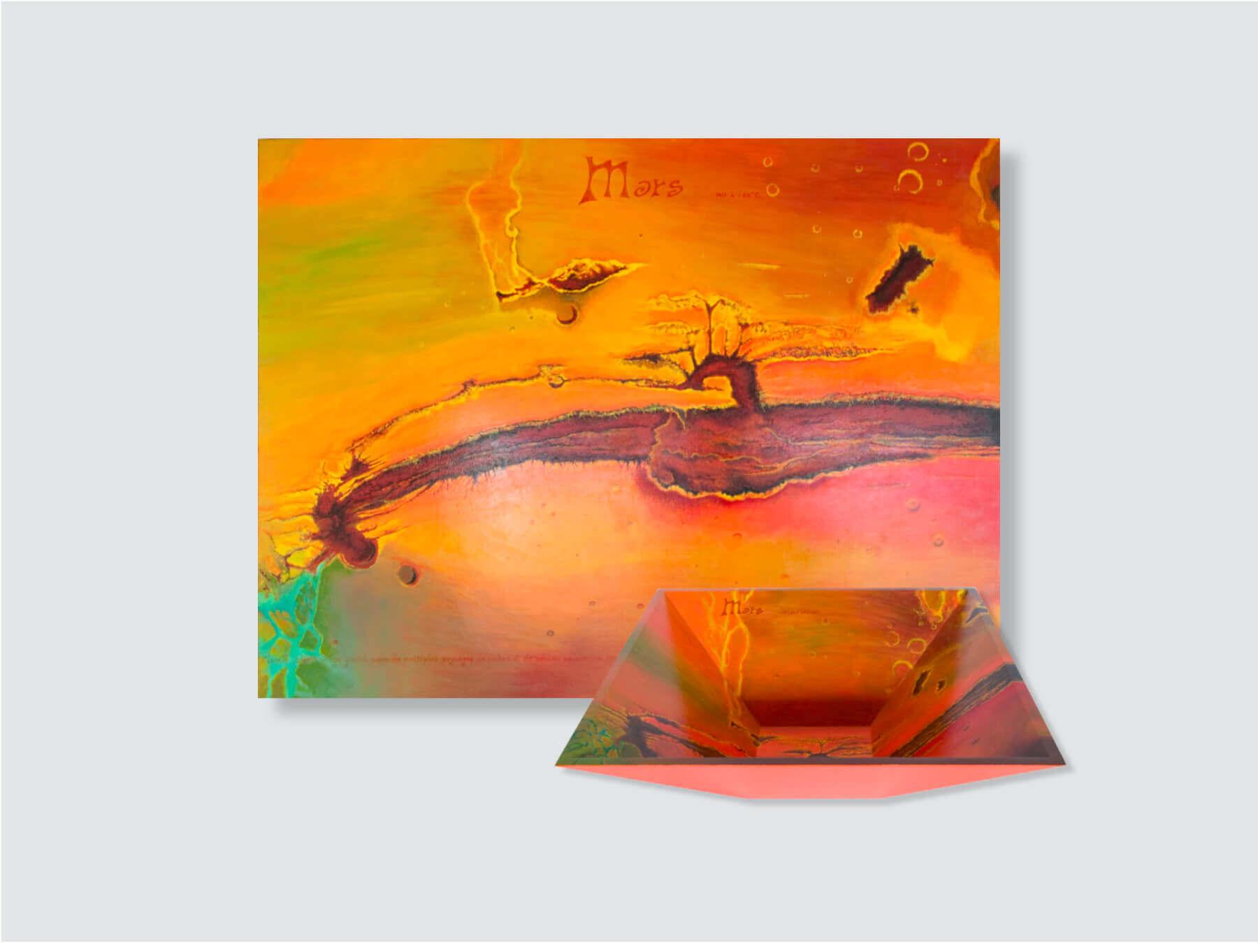 """Mars Planet"" Painting & Pyramidal Bowl- 92x70x5cm + 45x45x15cm / 36.2x27.5x2 in + 17.7x17.7x5.9 in"