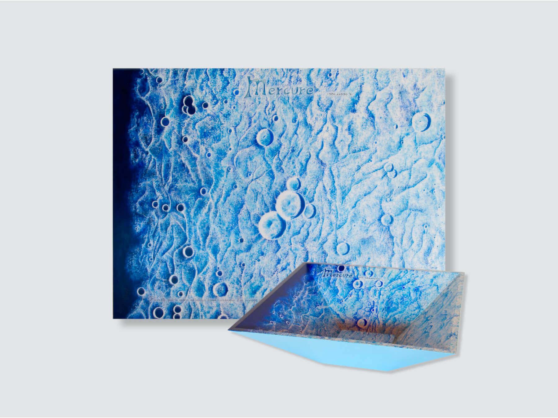"""Mercure Planet"" Painting & Pyramidal Bowl- 92x70x5cm + 45x45x15cm / 36.2x27.5x2 in + 17.7x17.7x5.9 in"