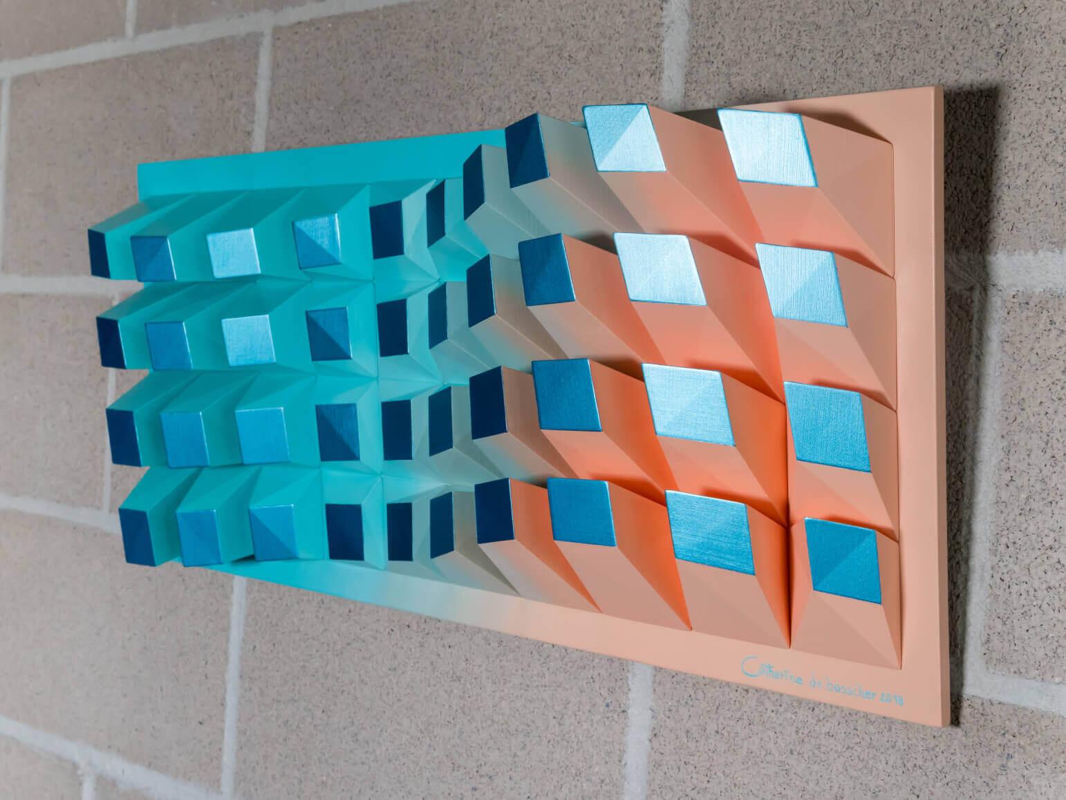 """'Matrix 040' Wall Sculpture 31x69x8,5 cm/ 12.2x27.2x3.3"""""""